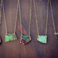 XMAS IN JULY Green Lagoon ///  Handcrafted Chrysoprase Necklace /// Layering, bohemian, healing /// Gold
