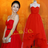 High-low red prom dress,long chiffon prom dresses,sweetheart red carpet celebrity dress,ball gown ,evening dress