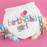 Birthday Girl Bloomers/Balloons/Ribbons/Baby Girl/Infant Size