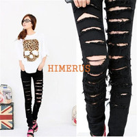 Women's Black Cotton Blend Denim Ripped Punk Cut-out Skinny Holes pants Jeans Jeggings Trousers = 1930348292