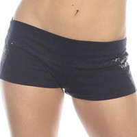 Sexy Unbroken Honor Military Navy Scrunch Back Work Out Shorts - Navy Blue/Blue