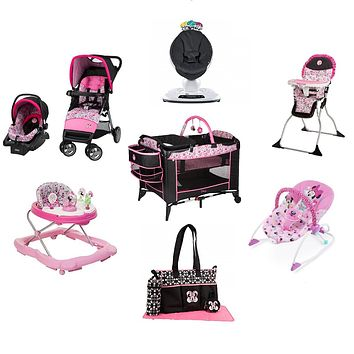 Disney Minnie Meadows Complete Baby Gear Baby Bundle with Swing & Diaper Bag