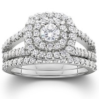 1 1/10ct Cushion Halo Diamond Engagement Wedding Ring Set 10K White Gold
