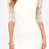 White Sheer Lace-Paneled Bodycon Dress