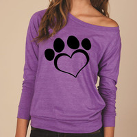 Ready to Ship Eco-Jersey Off The Shoulder, Slouchy Pullover - Large Heart Shaped Paw Print