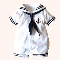 Newborn baby clothes White Navy Sailor uniforms summer baby rompers Short sleeve one-pieces jumpsuit baby boy girl clothing
