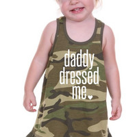 Daddy Dressed Me Glitter Graphic Infant Baby Girls Camo Tank Dress