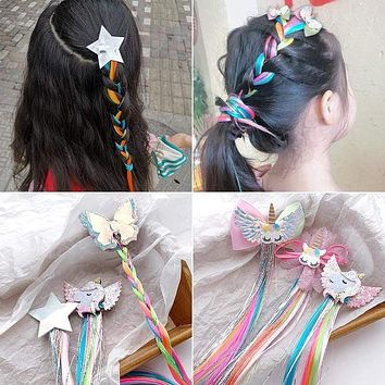 UNTAMED Children Colorful Wig Hairpins Hair Accessories Kids Girls Hairclip Fake Hair Twist Braid Headdress Hair Clips Barrettes
