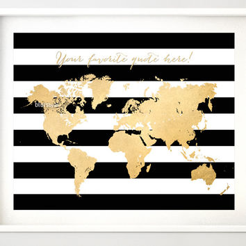 """Custom quote - Gold foil map silhouette in black and white striped background, sizes from 7x5"""" to 60x40"""""""