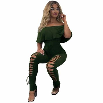 Off The Shoulder Ruffle Playsuit Bodycon Party Jumpsuit Hollow Out
