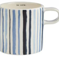Rae Dunn Indigo Mug - Blue Watercolor Stripe - Set of 4 (Save $10!)