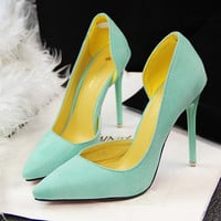 Women Pumps Sexy High Heels Shoes Women Hollow Pointed Toe Ladies Shoes High Heels Black Pink