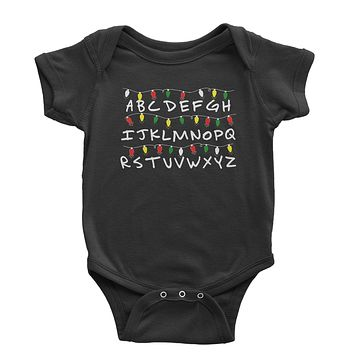 Alphabet Stranger Christmas Lights Infant One-Piece Romper Bodysuit