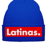 latinas embroidery hat  - Beanie Cuffed Knit Cap