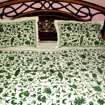 Green Bedspread Embroidered/Green Bedding/Bed Cover/Custom Duvet Cover/Embroidered Duvet Cover/Embroidered Bedding/Doona Quilt Cover