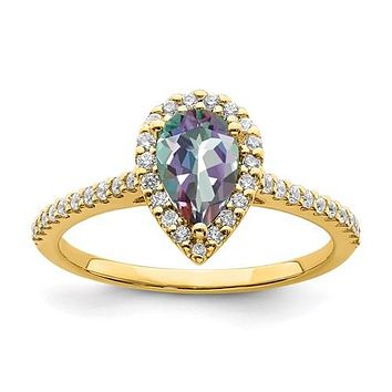 14k Yellow Gold Pear Mystic Fire Topaz and Diamond Halo Engagement Ring