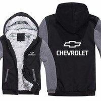 Chevrolet Hoodies Mans Jacket Winter High Quality Men Casual Wool Liner Fleece Chevrolet Logo Sweatshirts Hoody