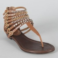 New Ladies Tan Brown Embellished Gladiator with Rhinestone Jewels Zippered Sandals Flats Shoes
