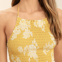 Island Luau Yellow Floral Print Crop Top