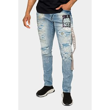 Collage Patch Faded Denim Jeans