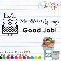 Owl Self Inking Stamp. Address Stamp, Book Stamp, This book belongs to Stamp, Sign and Return (P359) Free Proof