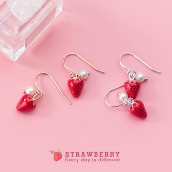 MloveAcc Authentic 925 Sterling Silver Sweet Strawberry Drop Earrings with Pearl for Women Girls Fashion Silver Earrings