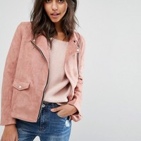 Missguided Faux Suede Biker Jacket at asos.com