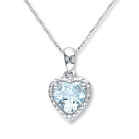 Aquamarine Heart Necklace Sterling Silver