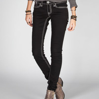 Hydraulic Faux Leather Trim Back Pocket Womens Skinny Jeans Black  In Sizes