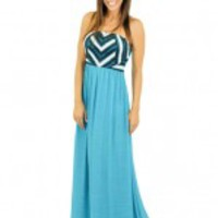 Teal Maxi Dress With Crochet And Lace Top