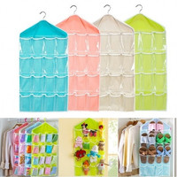 Multifunction Clear 16 Pockets Socks Shoe Toy Underwear Sorting Storage Bag Door Wall Hanging Closet Organizer