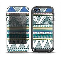 The Abstract Blue and Green Triangle Aztec Skin for the iPod Touch 5th Generation frē LifeProof Case