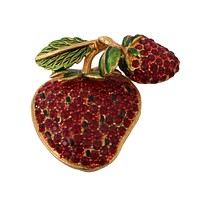Dolce & Gabbana Gold Plated Brass Red Crystal Strawberry Pin Brooch
