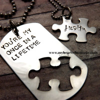 puzzle piece couples necklace set-Handstamped necklace-personalized-dog tag-couples necklace-wedding date-youre my once in a lifetime