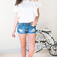 Automatic Crush Distressed Denim Shorts - Blue