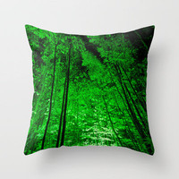 Electric Forest Green Throw Pillow by Alice Gosling | Society6