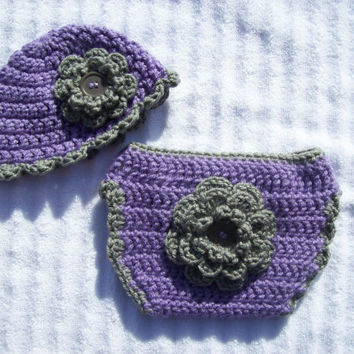 Crochet Diaper Cover and Hat Set, Baby Girl Diaper Cover Set in Purple and Dark Grey - Photography Prop