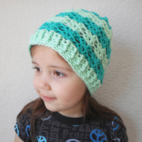 Girls Lacy Skullcap Beanie Hat in Jade and Mint Stripes, ready to ship.
