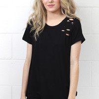 Torn to Pieces Distressed Short Sleeve {Black}