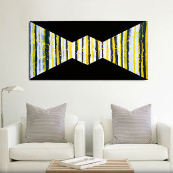 Original abstract painting on a wood panel. Acrylic. Yellow, black, and white. Large painting.