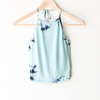 Tie Dyed Halter Crop Top - Mint