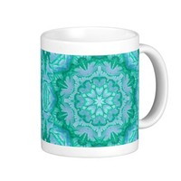 Lavender Blue and Teal Victorian Floral Coffee Mugs