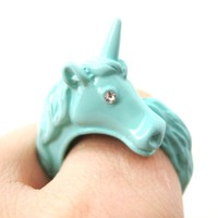 Large Detailed Unicorn Animal Wrap Around Ring in Mint Blue - Size 5 to 8