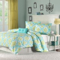 Katelyn Printed Comforter Set Size: Full/Queen, Color: Teal:Amazon:Home & Kitchen