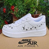 LV Louis Vuitton NIKE AIR force 1 AF1 men's and women's casual sneakers Shoes