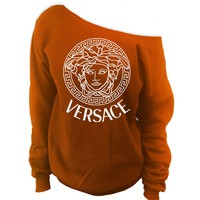Versace Medusa Off-The-Shoulder Oversized Wideneck Slouchy Sweatshirt