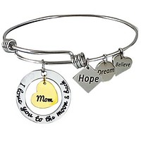 Expandable Bangle I Love You to the Moon and Back Mom-Gold Center Heart