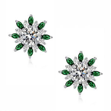Round and Green Marquise Cubic Zirconia Radiance Stud Earrings