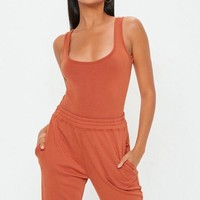 Missguided - Rust Square Neck Bodysuit