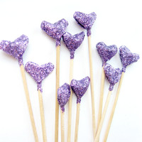10 Purple Glitter Origami Heart Cupcake Toppers - Birthday, Wedding, Engagement Party, Tea Party, Valentines, Anniversary